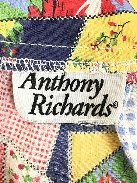 [7] レディース 古着 80s Anthony Richard 花 パッチワーク プリント 半袖 チュニック ワンピース ミドル丈 L位 古着