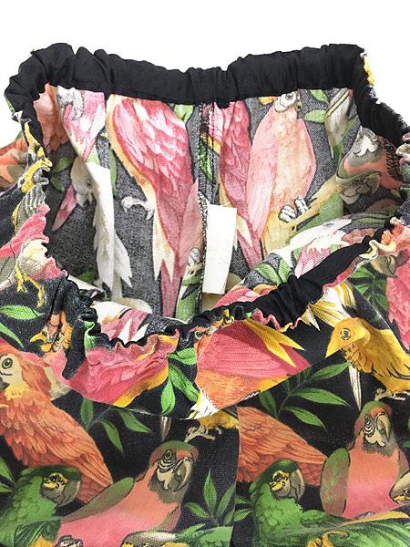 [4] レディース 古着 MALINDA'S オウム インコ 鳥 総柄 ワイド イージー カーゴ パンツ テーパード L位 古着