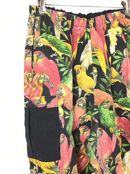 [7] レディース 古着 MALINDA'S オウム インコ 鳥 総柄 ワイド イージー カーゴ パンツ テーパード L位 古着