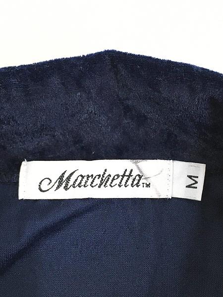 [6] レディース 古着 USA製 Marchetta 無地 シンプル 光沢 ネイビー ベロア シャツ XL位 古着