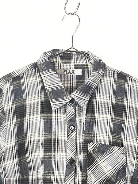 [2] レディース 古着 FLAX ナチュラル チェック デザイン ロング リネン シャツ M位 古着
