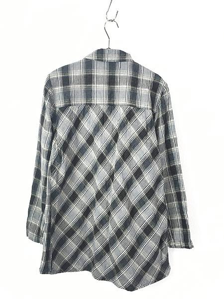 [3] レディース 古着 FLAX ナチュラル チェック デザイン ロング リネン シャツ M位 古着
