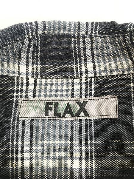 [5] レディース 古着 FLAX ナチュラル チェック デザイン ロング リネン シャツ M位 古着
