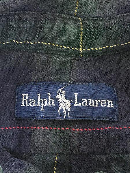 [5] レディース 古着 90s POLO Ralph Lauren ブラックウォッチ チェック フランネル シャツ XL位 古着