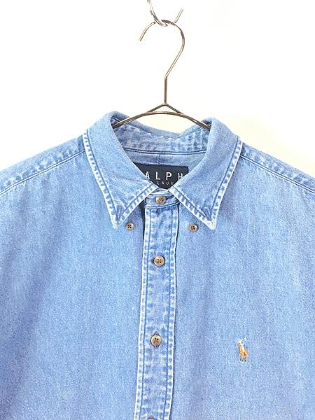 [2] レディース 古着 90s Ralph Lauren ラルフ ワンポイント ブルー デニム シャツ XL位 古着