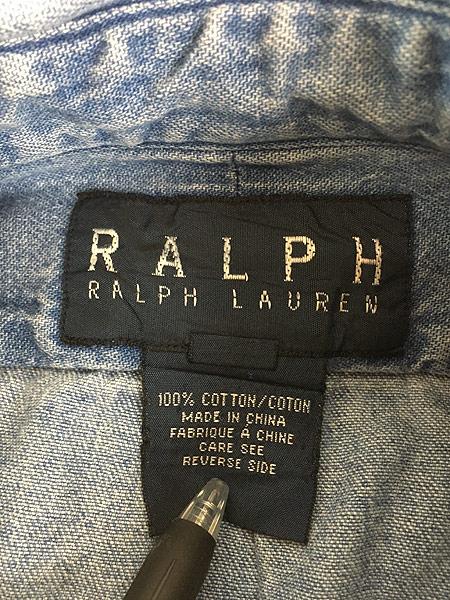 [6] レディース 古着 90s Ralph Lauren ラルフ ワンポイント ブルー デニム シャツ XL位 古着