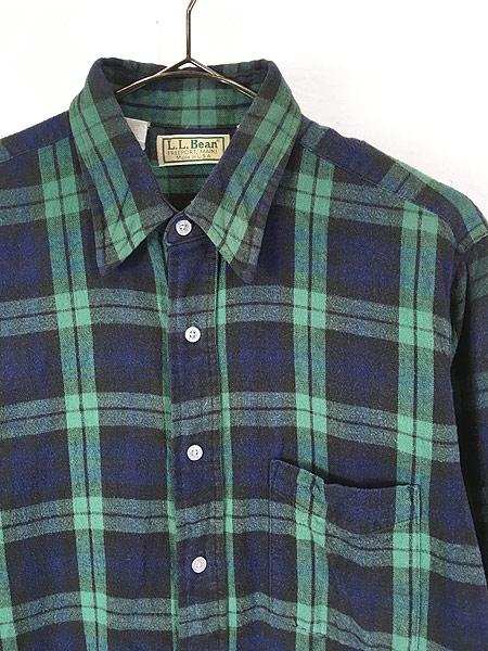 [2] 古着 80s USA製 LL Bean ブラックウォッチ チェック フランネル シャツ ネルシャツ M 古着