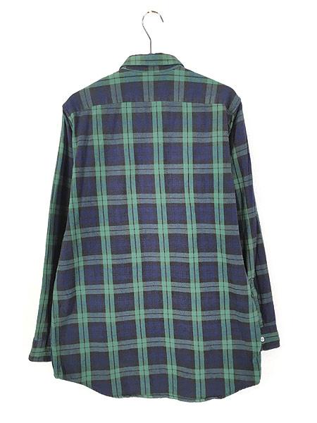 [3] 古着 80s USA製 LL Bean ブラックウォッチ チェック フランネル シャツ ネルシャツ M 古着