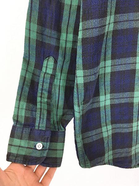 [4] 古着 80s USA製 LL Bean ブラックウォッチ チェック フランネル シャツ ネルシャツ M 古着