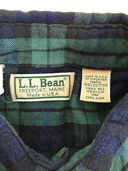 [5] 古着 80s USA製 LL Bean ブラックウォッチ チェック フランネル シャツ ネルシャツ M 古着