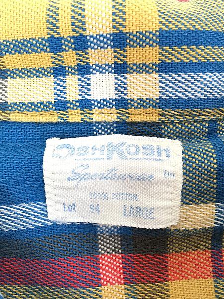 [5] 古着 70s OshKosh Bgosh ブルー チェック 100%コットン ヘビー フランネル シャツ ヘビネル L 古着