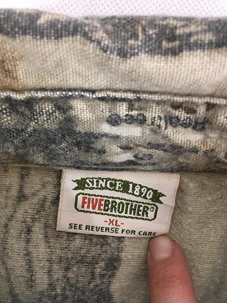 [5] 古着 90s FIVE BROTHER リアル ツリー カモ 迷彩 ヘビー フランネル シャツ ヘビネル XL 古着