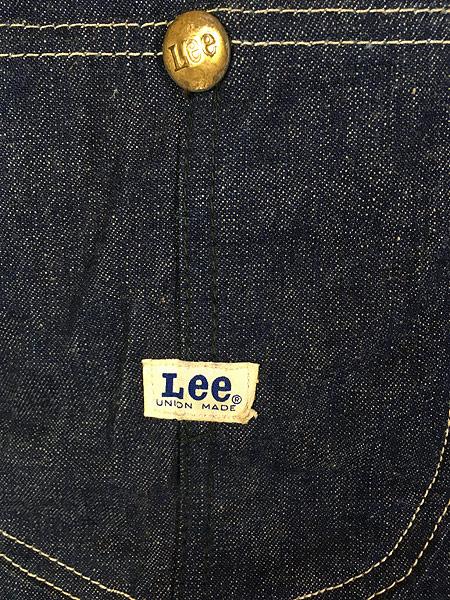 [3] 古着 60s USA製 Lee 91-J 「JELT」 濃紺 ジェルト デニム カバーオール ジャケット 42R 使用感なし!! 古着