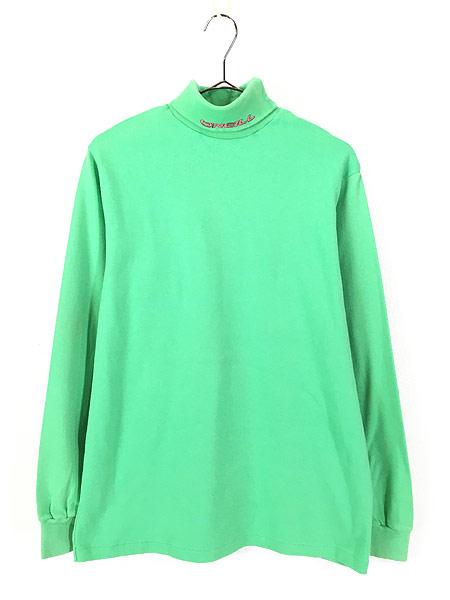 [1] 古着 80s USA製 O'NEILL ワンポイント 蛍光 タートルネック ロング Tシャツ カットソー L 古着