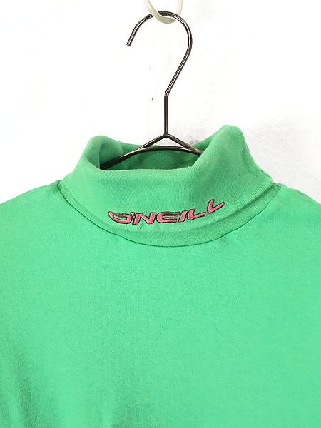 [2] 古着 80s USA製 O'NEILL ワンポイント 蛍光 タートルネック ロング Tシャツ カットソー L 古着