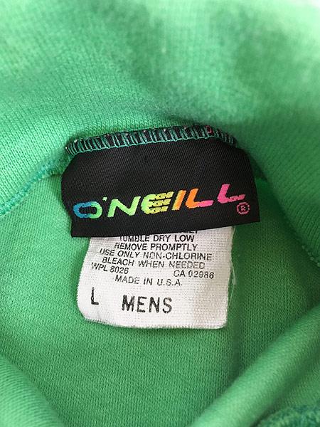 [5] 古着 80s USA製 O'NEILL ワンポイント 蛍光 タートルネック ロング Tシャツ カットソー L 古着