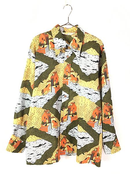 [1] 古着 70s Cranbrook ペンキ塗り 馬 風景 総柄 オールド ポリエステル シャツ 柄シャツ XL 古着