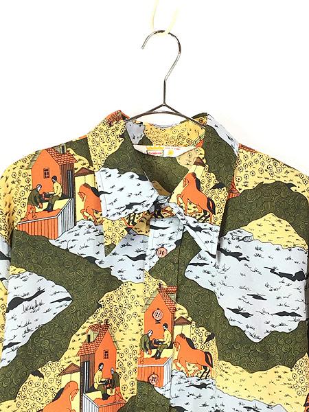 [2] 古着 70s Cranbrook ペンキ塗り 馬 風景 総柄 オールド ポリエステル シャツ 柄シャツ XL 古着