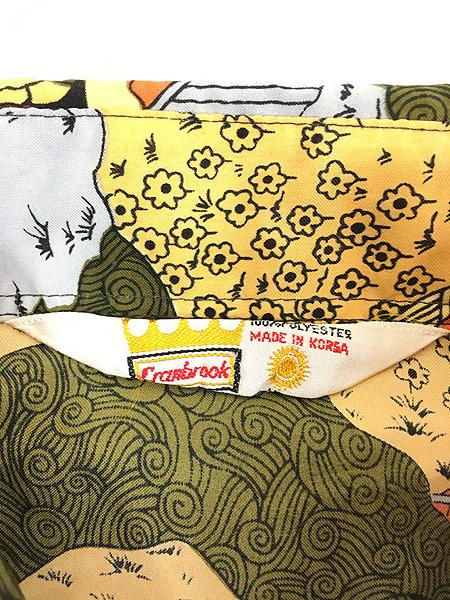 [5] 古着 70s Cranbrook ペンキ塗り 馬 風景 総柄 オールド ポリエステル シャツ 柄シャツ XL 古着