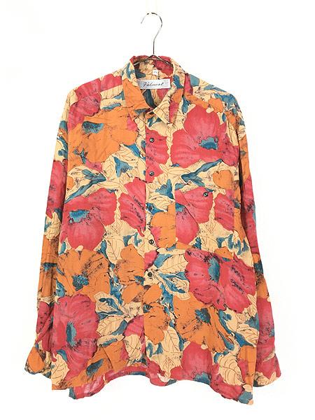 [1] 古着 90s Valmont カラフル ボタニカル アート 総柄 100% レーヨン シャツ 柄シャツ L 古着