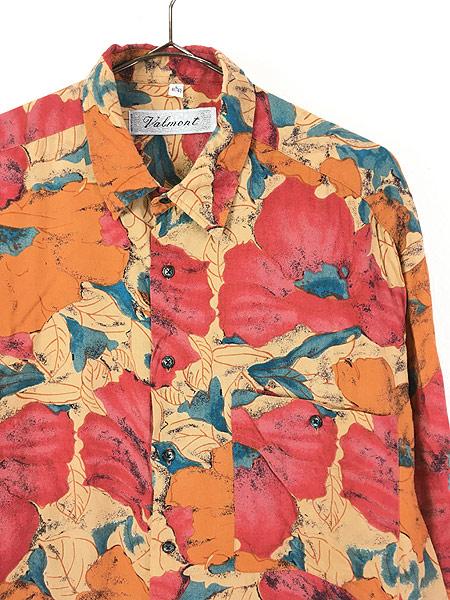 [2] 古着 90s Valmont カラフル ボタニカル アート 総柄 100% レーヨン シャツ 柄シャツ L 古着