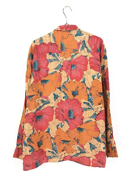 [3] 古着 90s Valmont カラフル ボタニカル アート 総柄 100% レーヨン シャツ 柄シャツ L 古着