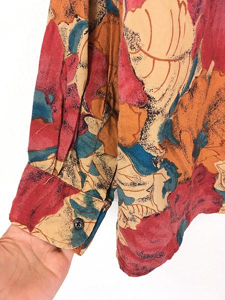 [4] 古着 90s Valmont カラフル ボタニカル アート 総柄 100% レーヨン シャツ 柄シャツ L 古着