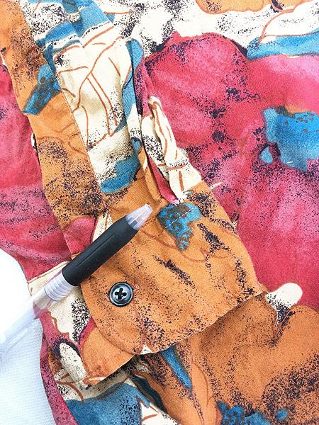 [6] 古着 90s Valmont カラフル ボタニカル アート 総柄 100% レーヨン シャツ 柄シャツ L 古着