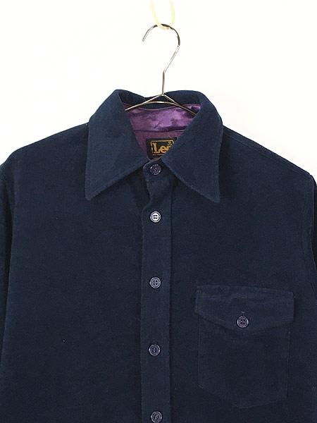 [2] 古着 70s USA製 Lee 起毛 ベロア タッチ 異素材 ポリエステル シャツ S 古着