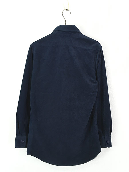 [3] 古着 70s USA製 Lee 起毛 ベロア タッチ 異素材 ポリエステル シャツ S 古着