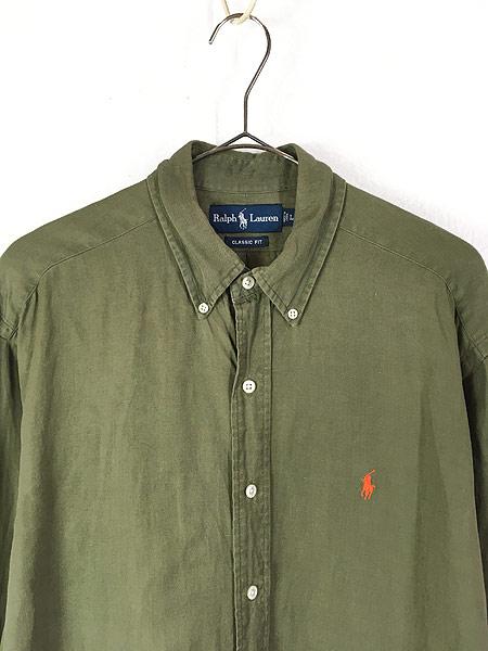 [2] 古着 90s Ralph Lauren ラルフ 上質 リネン シルク BD シャツ L 古着