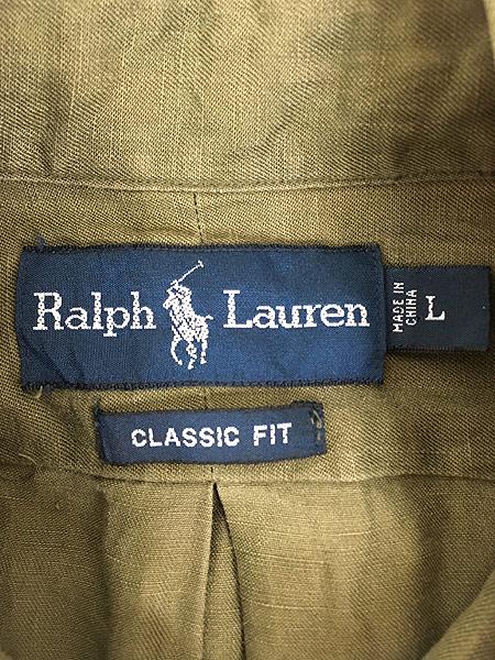 [7] 古着 90s Ralph Lauren ラルフ 上質 リネン シルク BD シャツ L 古着