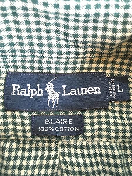 [5] 古着 90s Ralph Lauren ラルフ 「BLAIRE」 ギンガム チェック BD シャツ L 古着