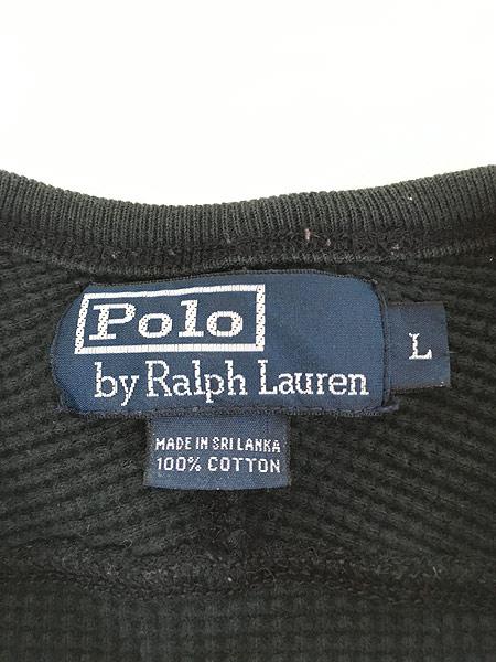 [5] 古着 POLO Ralph Lauren ラルフ シンプル ワッフル サーマル カットソー 黒 L 古着