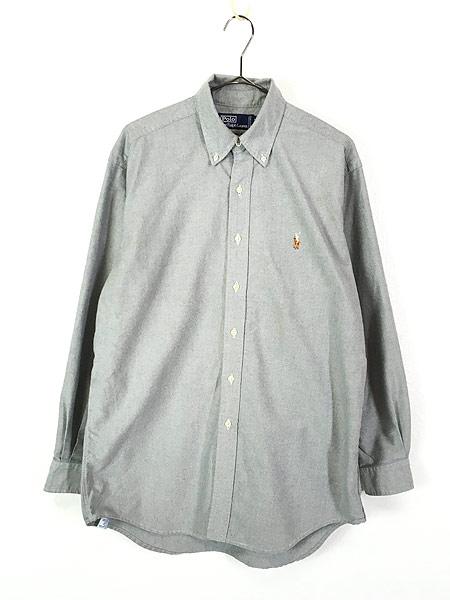 [1] 古着 90s POLO Ralph Lauren ラルフ ワンポイント OXフォード BD シャツ L位 古着
