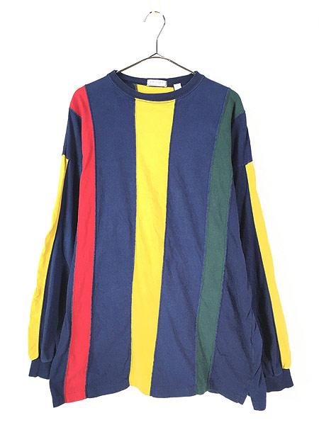 [1] 古着 90s BRITCHES マルチ ストライプ デザイン 長袖 Tシャツ ロンT カットソー L 古着