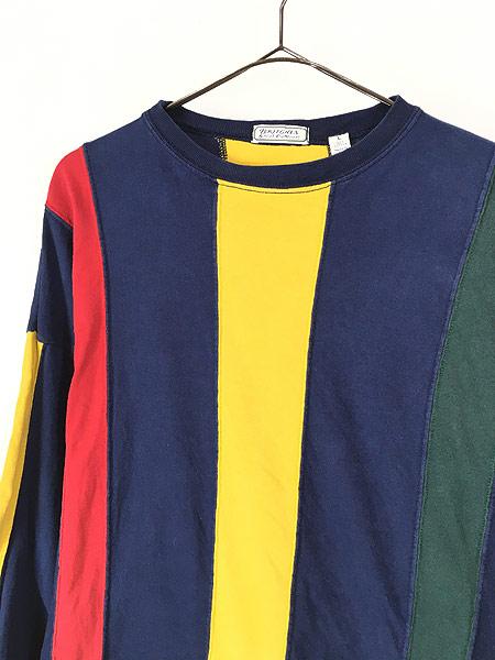 [2] 古着 90s BRITCHES マルチ ストライプ デザイン 長袖 Tシャツ ロンT カットソー L 古着