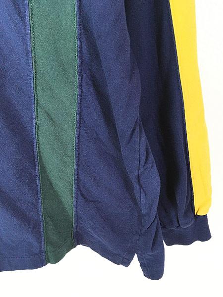 [3] 古着 90s BRITCHES マルチ ストライプ デザイン 長袖 Tシャツ ロンT カットソー L 古着