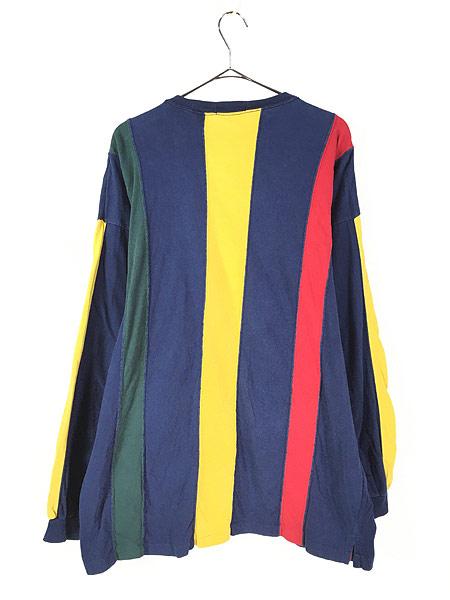 [4] 古着 90s BRITCHES マルチ ストライプ デザイン 長袖 Tシャツ ロンT カットソー L 古着
