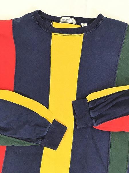 [5] 古着 90s BRITCHES マルチ ストライプ デザイン 長袖 Tシャツ ロンT カットソー L 古着