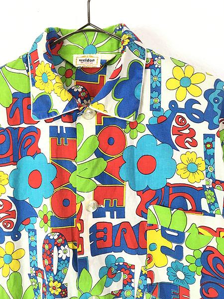 [2] 古着 70s Weldon 「LOVE」 フラワー ヒッピー アート 総柄 パジャマ シャツ ロング丈 柄シャツ M 古着