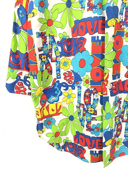 [3] 古着 70s Weldon 「LOVE」 フラワー ヒッピー アート 総柄 パジャマ シャツ ロング丈 柄シャツ M 古着