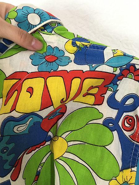 [6] 古着 70s Weldon 「LOVE」 フラワー ヒッピー アート 総柄 パジャマ シャツ ロング丈 柄シャツ M 古着