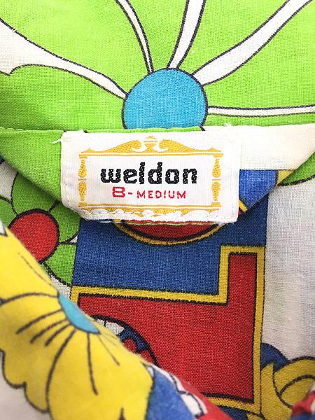 [7] 古着 70s Weldon 「LOVE」 フラワー ヒッピー アート 総柄 パジャマ シャツ ロング丈 柄シャツ M 古着