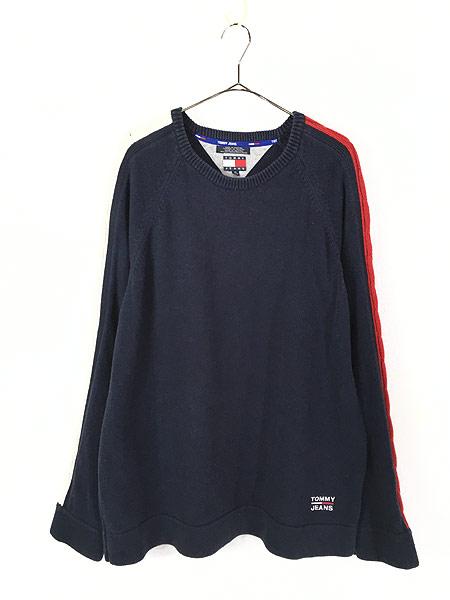[1] 古着 90s TOMMY JEANS ケーブル サイド ライン トリコロール コットン ニット セーター XL 古着