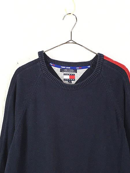 [2] 古着 90s TOMMY JEANS ケーブル サイド ライン トリコロール コットン ニット セーター XL 古着