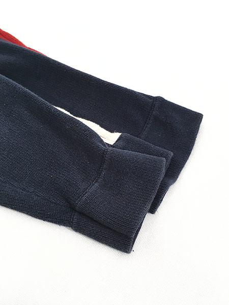 [4] 古着 90s TOMMY JEANS ケーブル サイド ライン トリコロール コットン ニット セーター XL 古着