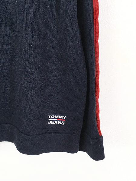 [5] 古着 90s TOMMY JEANS ケーブル サイド ライン トリコロール コットン ニット セーター XL 古着
