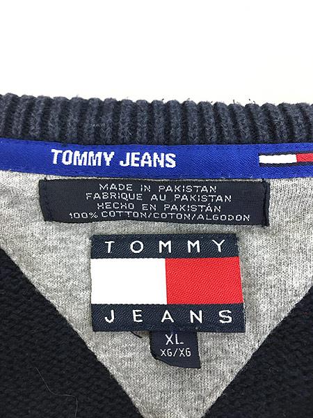 [6] 古着 90s TOMMY JEANS ケーブル サイド ライン トリコロール コットン ニット セーター XL 古着