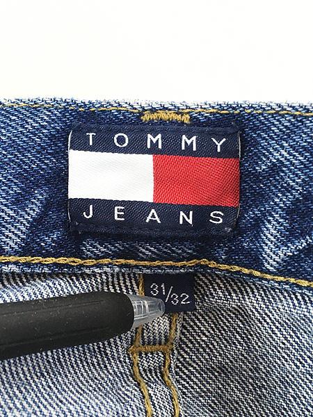 [7] 古着 90s TOMMY JEANS トミー サイド テープ デニム パンツ ジーンズ ストレート W31 L31 古着